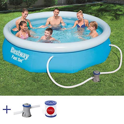 RAMROXX A38361 BESTWAY Fast Set Pool Swimmingpool Rund mit Filterpumpe Filter 305x76cm