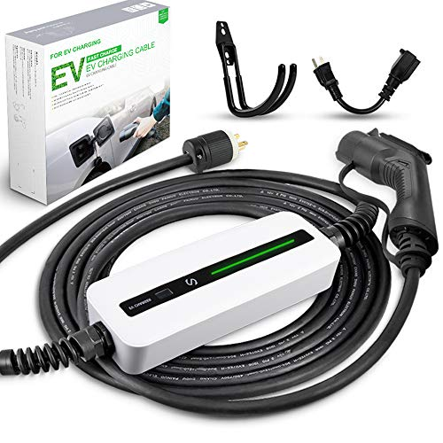 Morec EV Charger 16A 3.68KW NEMA6-20 Plug with Adapter for NEMA 5-15, 100V-240V 21ft (6.5m) Level 1 Level 2 Electric Vehicle charging cable Compatible with All EV Cars