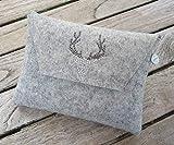 zigbaxx Dirndl-Bag WOOD STAR/Trachtentasche, Gürteltasche, Bauchtasche, Dirndl-Tasche aus Woll-Filz mit Hirsch aus Strass & Studs, grau anthrazit-schwarz pink beige braun - Geschenke Weihnachten