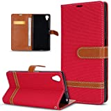 Kompatibel mit Sony Xperia XA1 Plus Hülle,Kontrastfarbe Denim Canvas Hülle Cover Soft Silikon Schutzhülle PU Lederhülle Flip Wallet Ständer Hülle Tasche Cover Schutzhülle für Sony Xperia XA1 Plus,Rot