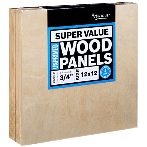 Artlicious - 4 Super Value Wood Panel Boards - Great Alternative to Canvas Panels, Stretched Canvas & Canvas Rolls (12x12, Standard Profile)