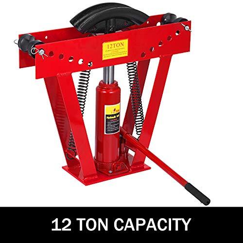 Happybuy 12 Ton Exhaust Tubing Bender 1/2 Inch Square Hydraulic Hand Pump Tubing Bender Stroke 130mm Pipe Bending Tool within 90-180 Degree Steel Pipe Bender with 6 Dies