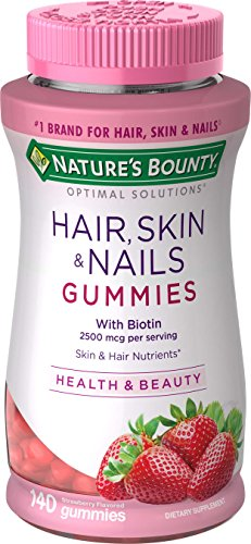 Hair Skin and Nails Vitamins with Biotin & Vitamin C by Nature's Bounty Optimal Solutions, Hair Skin and Nails Gummies - Strawberry Flavored, 140 Gummies