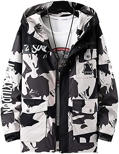 Más el Tamaño De Los Hombres Casual Chaqueta Monos Con Capucha Negro Windbreak Ropa Moda Abrigos Streetwear