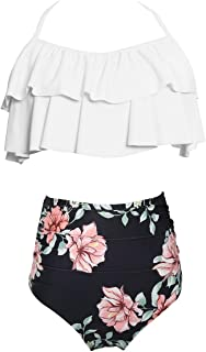 Little Girls Kids Two Piece Tankini Swimsuit Hawaiian Ruffle Swimwear High Waisted Bathing Suit Set 140 White Black 7-8 Years