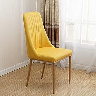 Chairlxy Sillas de Comedor de Madera, Silla sillas tapizadas de algodón de Lino sillas de Ocio con Patas de Madera para Cocina, Comedor, Dormitorio, Sala de Estar,Amarillo