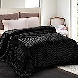 Whale Flotilla Flannel Fleece Queen Size(90x90 Inch) Lightweight Bed Blanket, Soft Velvet Bedspread Plush Fluffy Coverlet Chevron Design Decorative Blanket for All Seasons, Black