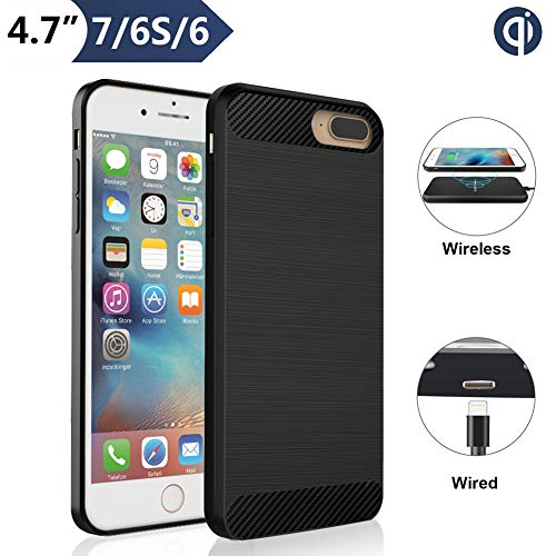 Qi Wireless Charging Case for iPhone 7 6 6S (4.7' Screen Size), Angeliox Wireless Charger Receiver [3rd Generation] Shockproof Protective Back Cover-No Battery