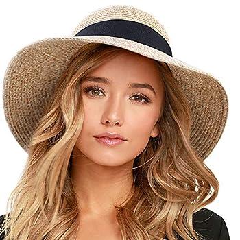 FURTALK Womens Beach Sun Straw Hat UV UPF50 Travel Foldable Brim Summer UV Hat  Aa-Mixed Beige Medium