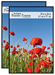 Set of 2 - 24x36 Inch black poster frames made to display fine art, posters, enlarged photos and more! Frame has a thin high gloss black profile and corrugated backing Quick and easy snap-in-place frame assembly Frame features hinged hanging hardware...