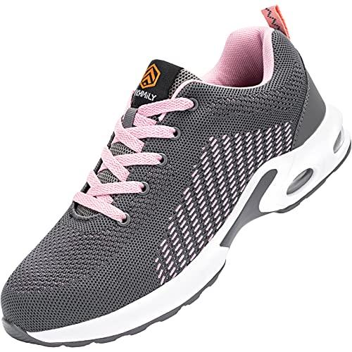 Fenlern Zapatillas de Seguridad Mujer Ligeras S1 Zapatos de Seguridad Trabajo Punta de Acero Calzado de Seguridad con Colchón de Aire (Rosa Gris,35 EU)