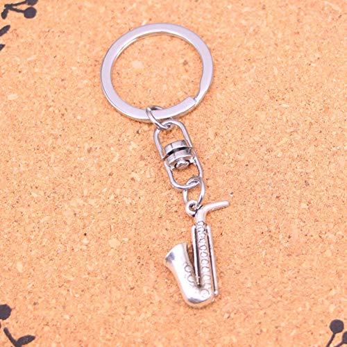 TAOZIAA sleutelhanger verzilverde hoorn saxofoon sleutelhanger voor auto metaal Hanger Tas Bedel Sleutelhanger
