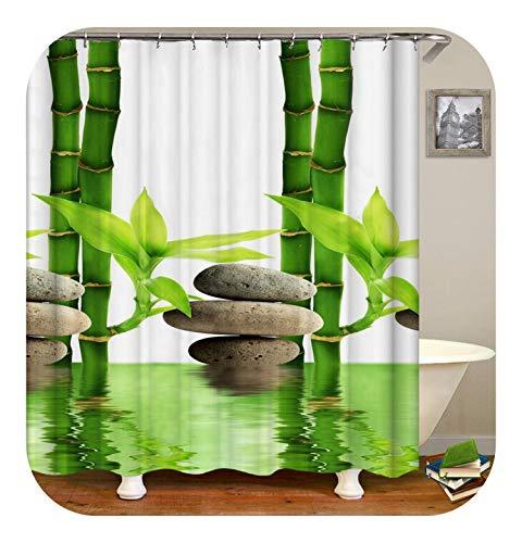 Fairy-Margot Cortina de Ducha Zen Decoración para el hogar Cortinas de baño 3D con Ganchos Bambúes Verdes Baño Zen Garden Buddha Cortina para baño o tapete-cx543-Solo tapete de 40x60cm