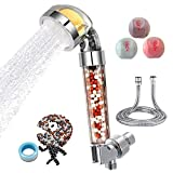 QiliKB VitaminC Shower Head Filter with Hose & 3 Balms Handheld High Pressure Ionic Shower Filters with Chlorine Fluoride Removal Hard Water Softener