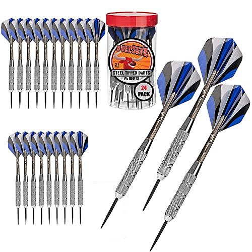Bullseye 24 Pack Steel Tip Darts with Flights | 21...