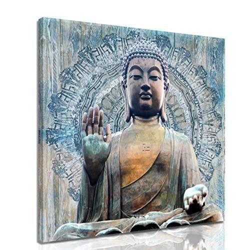 Vintage Mandala Buddha Canvas Art Religious Buddhism Mural Decoration - Buddha Zen Poster Modern Home Decoration Living Room Bedroom Office Yoga room (20x20 inches)…