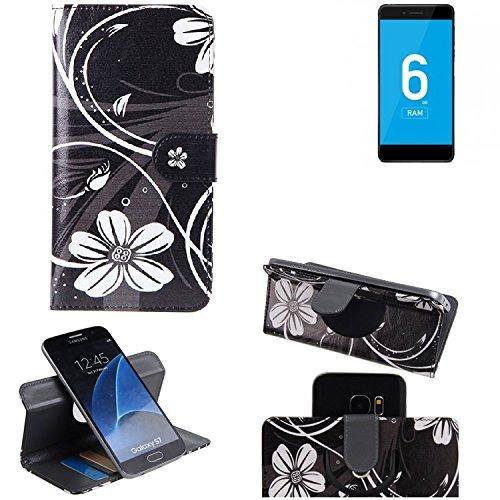 K-S-Trade® Schutzhülle Für Vernee Mars Pro 4G Hülle 360° Wallet Case Schutz Hülle ''Flowers'' Smartphone Flip Cover Flipstyle Tasche Handyhülle Schwarz-weiß 1x