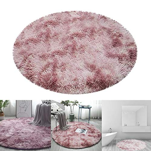 Eilsorrn 4Ft Circle Fluffy Area Rugs Ultra Soft Play Tent Rug for Kids Girls Boys Room Princess Castle Indoor Modern Living Room Bedroom Floor Home Decor Carpet, Pink Hawaii