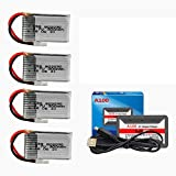 3.7V 300mAh LI-PO Battery for UDI U816 U830 F180 E55 FQ777 FQ17W RC Drone for Syma X11 X11C for Hubsan X4 H107C H107D 4 Pack with HOT RC A100 6 in 1 Charger
