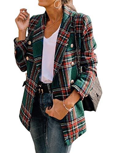SOMTHRON Dames geruit reverskraag blazer open dubbele rijen trenchcoat taillert elegant cardigan
