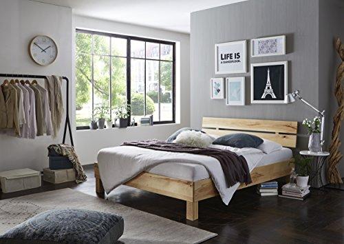 DaMi Holzbett Noah - Massivholzbett In Kernbuche (Geölt) Mit Kopfteil - Durchgehende Lamellen - Doppelbett, 180 x 200