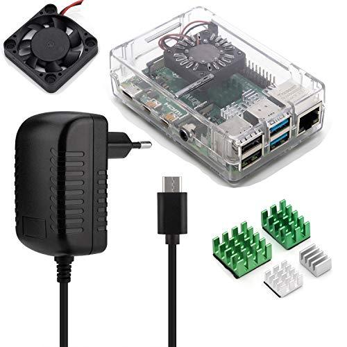 Aukru Kit 4-en-1 para Raspberry Pi 4 Modelo B, Incluye Caja Transparente, 5V 3A USB Tipo c Cargador Fuente de alimentación, disipador térmico y Mini Fan Ventilador