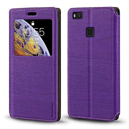 Funda Huawei P9 Lite de piel de grano de madera con tarjetero y ventana, tapa magnética con tapa para Huawei G9 Lite