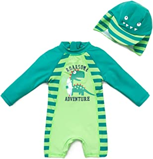 upandfast Baby/Toddler One Piece Zip Sunsuits with Sun Hat UPF 50+ Sun Protection Infant Beach Swimsuit
