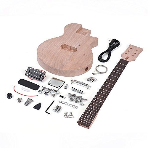 pedkit Niños Estilo LP Inconcluso Kit de Guitarra Eléctrica DIY Cuerpo y Cuello de Caoba Diapasón de Palisandro Pastilla Simple de Doble Bobina
