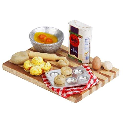 Sharplace 1:12 Escala Casa de Muñecas Cocina Panadería Comida Huevos Leche Pan Modelos Juguete