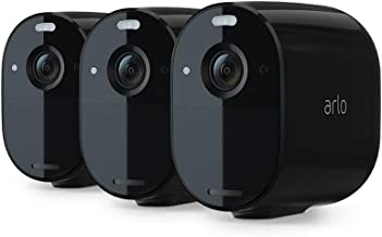 Arlo Essential Spotlight Camera | 3 Pack | Wire-Free, 1080p Video | Color Night Vision, 2-Way Audio, 6-Month Battery Life, Motion Activated, Direct to WiFi, No Hub Needed Works with Alexa | Black