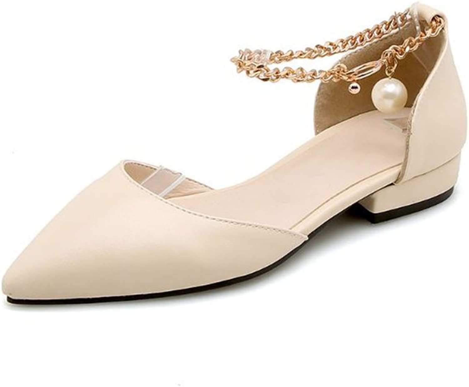 Women's Comfortable Pearl Leather Flat shoes Slip On Ballet Flats Casual Loafer