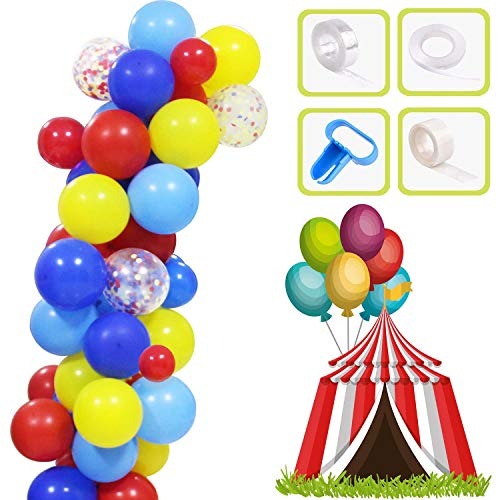 Yiran Carnival Circus Balloon Arch and Garland Kit - 84 PCS Red Blue Yellow Round Latex Balloons and Rainbow Multicolor Confetti Balloon for Carnival Wedding Birthday Anniversary Decorations