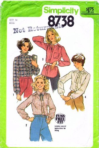 Simplicity 8738 Vintage Sewing Pattern Misses Front Button Blouses