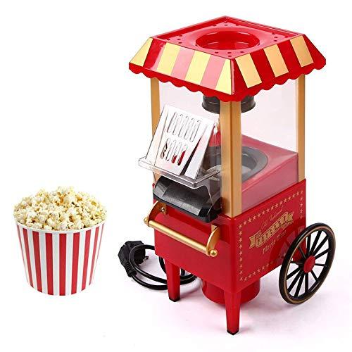Hot Air Popcorn Popper, Retro Cart Popcorn Machine, Mini Popcorn Maker for Home Kids Party Movie, No Oil Needed, 1200W