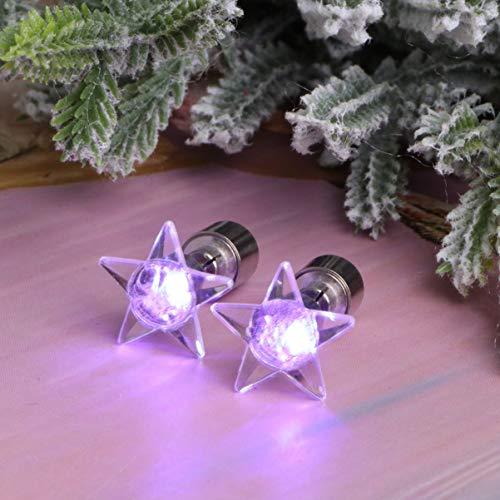 Holibanna LED Stern Ohrstecker blinkende Sterne Ohr Tropfen leuchten Ohrringe Weihnachtsfeier Geschenk Ohr Schmuck lila