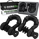 "Rhino USA D Ring Shackle (2 Pack) 41,850lb Break Strength – 3/4"" Shackle with 7/8 Pin for use with Tow Strap, Winch, Off-Road Jeep Truck Vehicle Recovery, Best Offroad Towing Accessories (Black)"