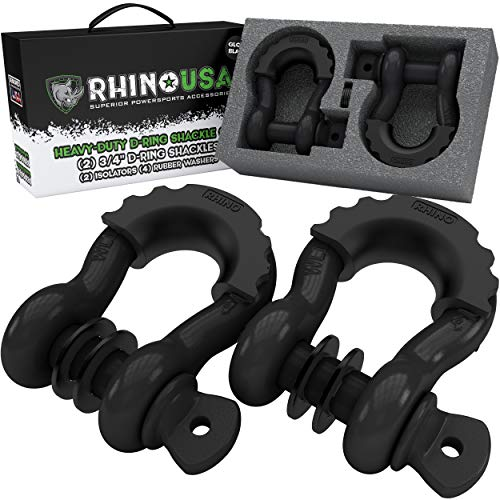 "Rhino USA D Ring Shackle (2 Pack) 41,850lb Break Strength – 3/4"" Shackle with 7/8 Pin for use with Tow Strap, Winch, Off-Road Jeep Truck Vehicle Recovery, Best Offroad Towing Accessories"