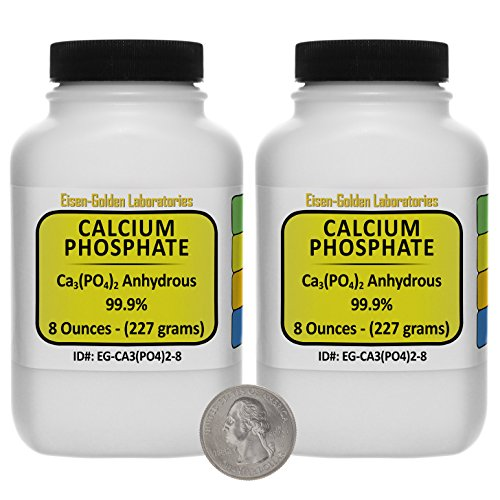 Calcium Phosphate [Ca3(PO4)2] 99.9% ACS Grade Powder 1 Lb in Two Space-Saver Bottles USA