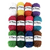 SCYarn for Scrubbies 12 Skeins Bonbons Yarn Assorted Colors 100% Polyester for Dishcloths Crochet and Knitting Project - Total 984 Yards Craft Kit (Rainbow)