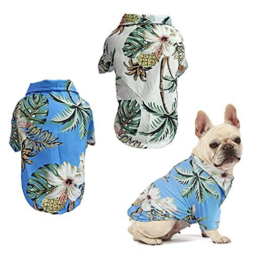 RoxNvm Maglietta estiva per cani, Camicia per cani hawaiana, T-shirt per cani stile resort sul mare, vestiti per cani traspiranti alla moda per cuccioli, 2 pezzi, blu e bianco (Grande)