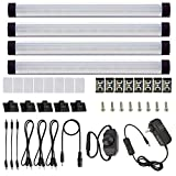 AIBOO LED Under Cabinet Lighting Kit, LED Strip Light,Shelf Lights Direct Wire, 12V Dimmable Kitchen Light Bar Linkable with Rocker Switch and Plug in Adapter (4 Panels,Warm White)
