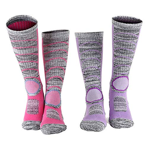 Etermal Ski Socks for Women Thermal Skiing Socks Snowboard & Hiking Cotton Socks 2-Pack, Purple-hot Pink, Medium