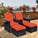TITIMO 5 Pieces Wicker Patio Furniture Set - Outdoor Rattan Loveseat Chairs - Adjustable Chaise Lounge Chair Recliner with Table Ottoman for Garden Porch Deck (Black Wicker + Orange Red Cushion)