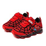 Kids Spiderman LED Light Up Shoes,Toddler Baby Girls Boys Children Breathable Luminous Flashing Sneakers Gift 1-6T Red