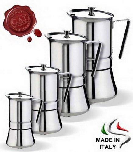 GAT Italien Pratika Eddington Herdplatte Espresso Maker, Edelstahl, 8x 14x 15cm