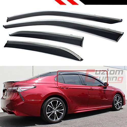 Clip-on Type Chrome Trim Window Visor Rain Guard Deflector Compatible with 2018 2019 2020 Toyota Camry LE XLE SE XSE