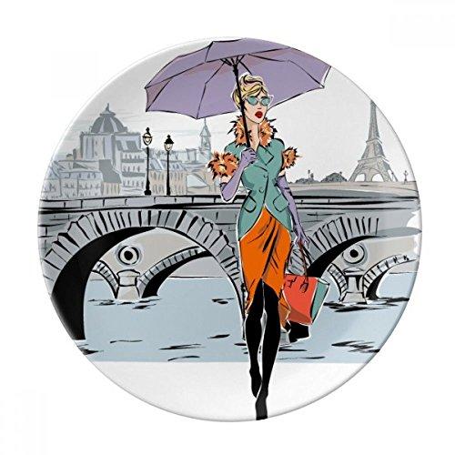 DIYthinker Pont Lady France rivière Mark décoratif en Porcelaine Assiette à Dessert 8 Pouces Dîner Accueil Cadeau 21cm diamètre Multicolor