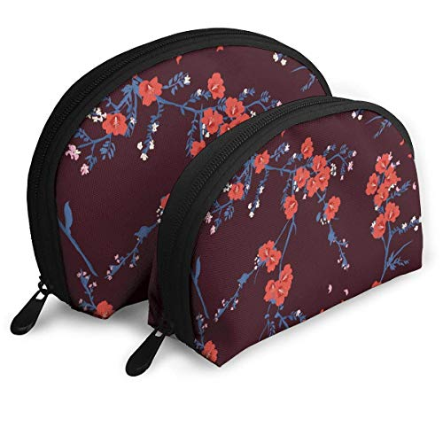 Blooming Red Oriental Flower Garden Blossom Pouch Zipper Toiletry Organizer Travel Makeup Clutch Bag Portable Bags Clutch Pouch Storage Bags