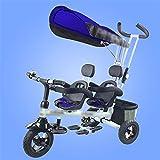 SHDT Bicicleta Triciclo para niños en tándem, Plegable, Liviana, Comercial, Ambulante, Ambulante, bebé, artefacto para niños de 0 a 6 años, ensamblaje sin Herramientas,C